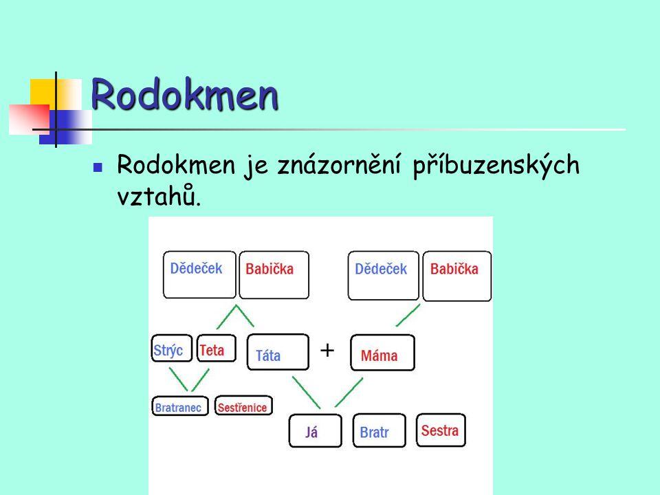 Rodokmen Rodokmen je znázornění příbuzenských vztahů.