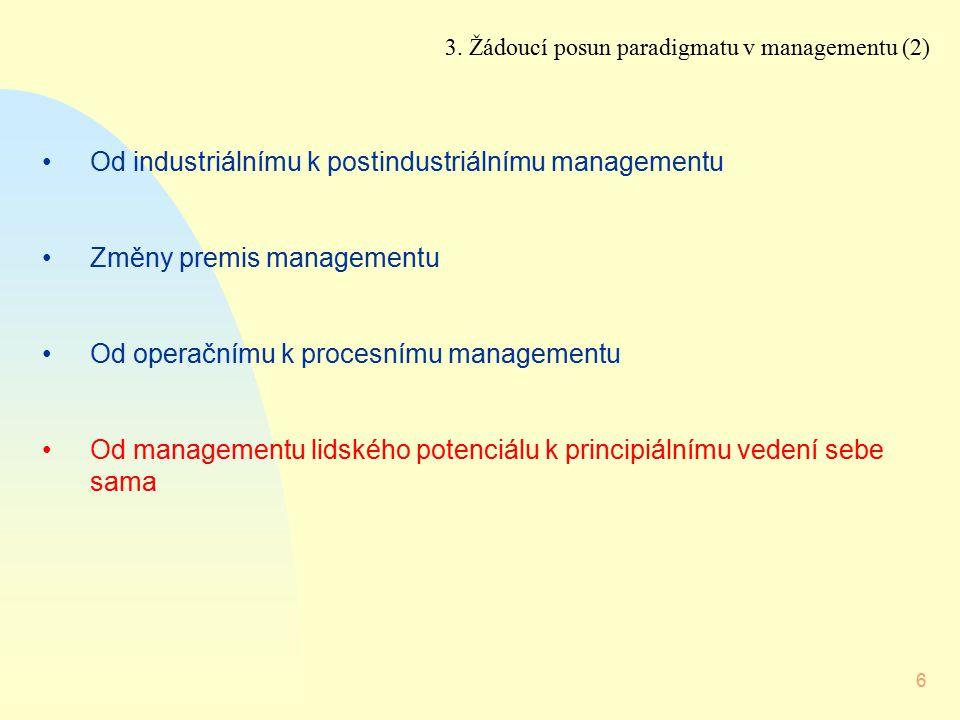Od industriálnímu k postindustriálnímu managementu