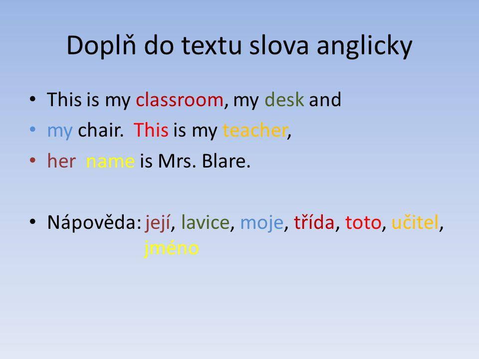 Doplň do textu slova anglicky