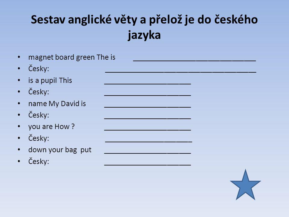 Sestav anglické věty a přelož je do českého jazyka