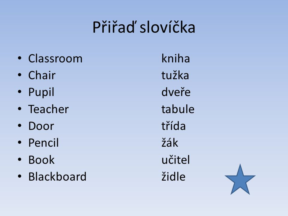 Přiřaď slovíčka Classroom kniha Chair tužka Pupil dveře Teacher tabule