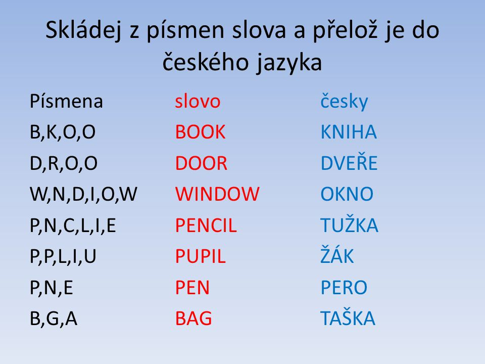 Skládej z písmen slova a přelož je do českého jazyka