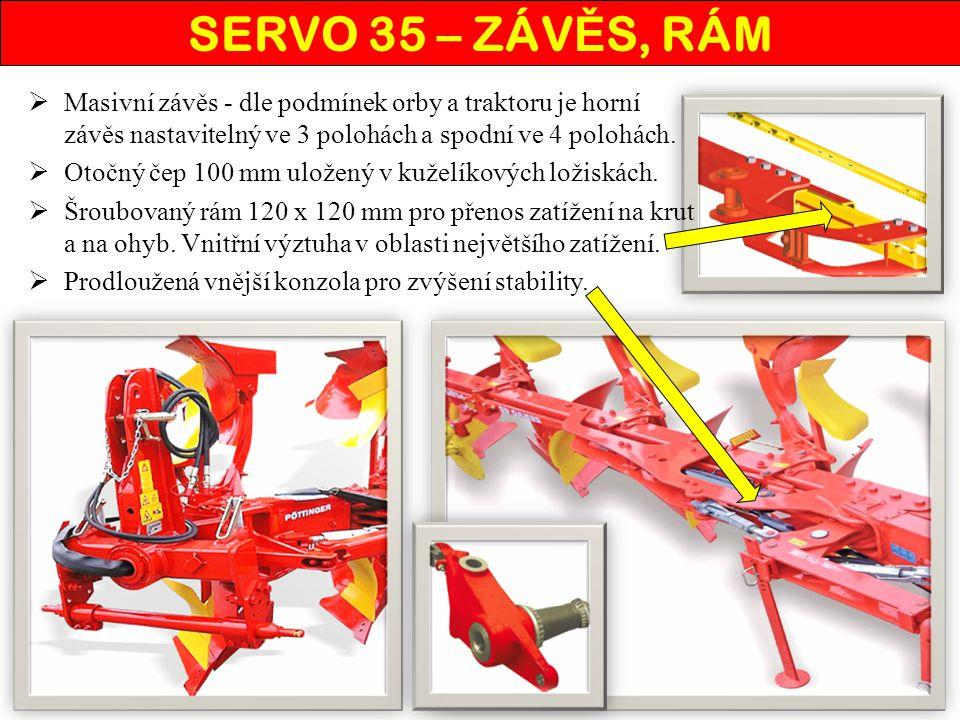 SERVO 35 – ZÁVĚS, RÁM Masivní závěs - dle podmínek orby a traktoru je horní závěs nastavitelný ve 3 polohách a spodní ve 4 polohách.