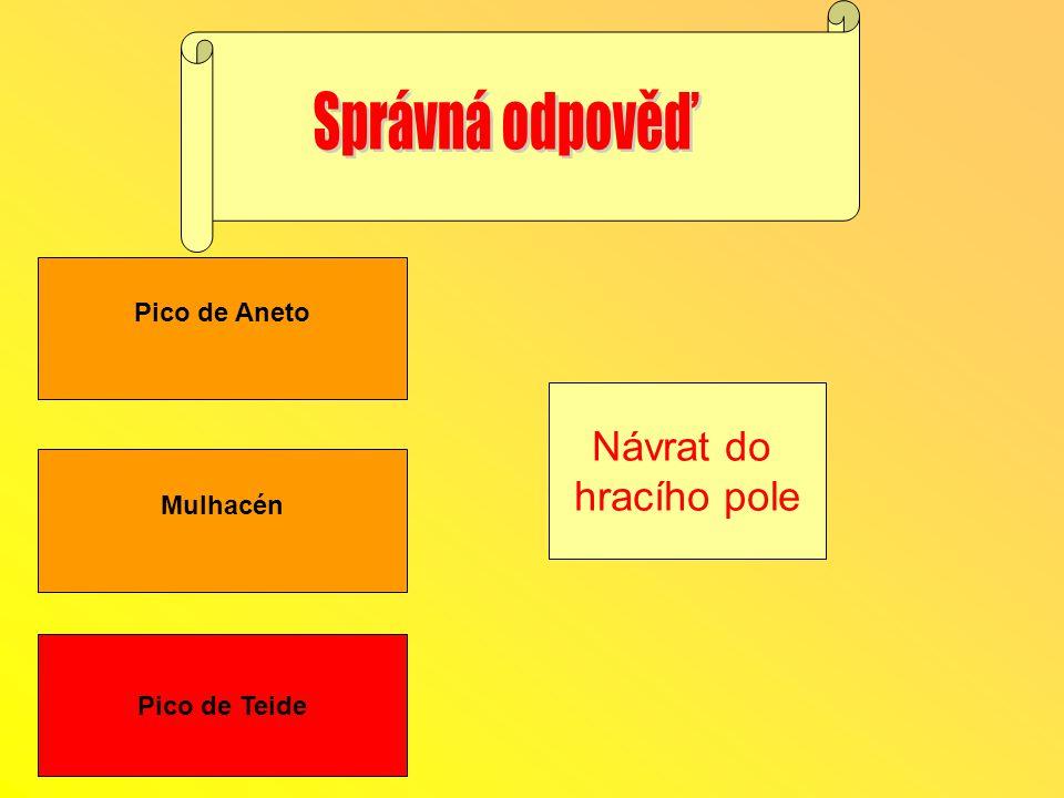 Správná odpověď Návrat do hracího pole Pico de Aneto Mulhacén