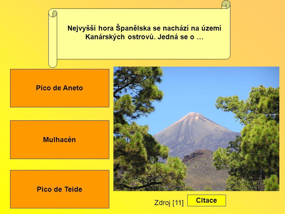 Nejvyšší hora Španělska se nachází na území