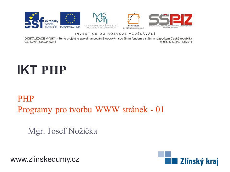 PHP Programy pro tvorbu WWW stránek - 01