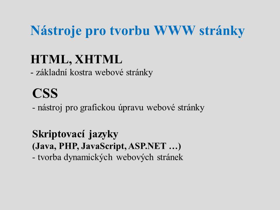 Nástroje pro tvorbu WWW stránky
