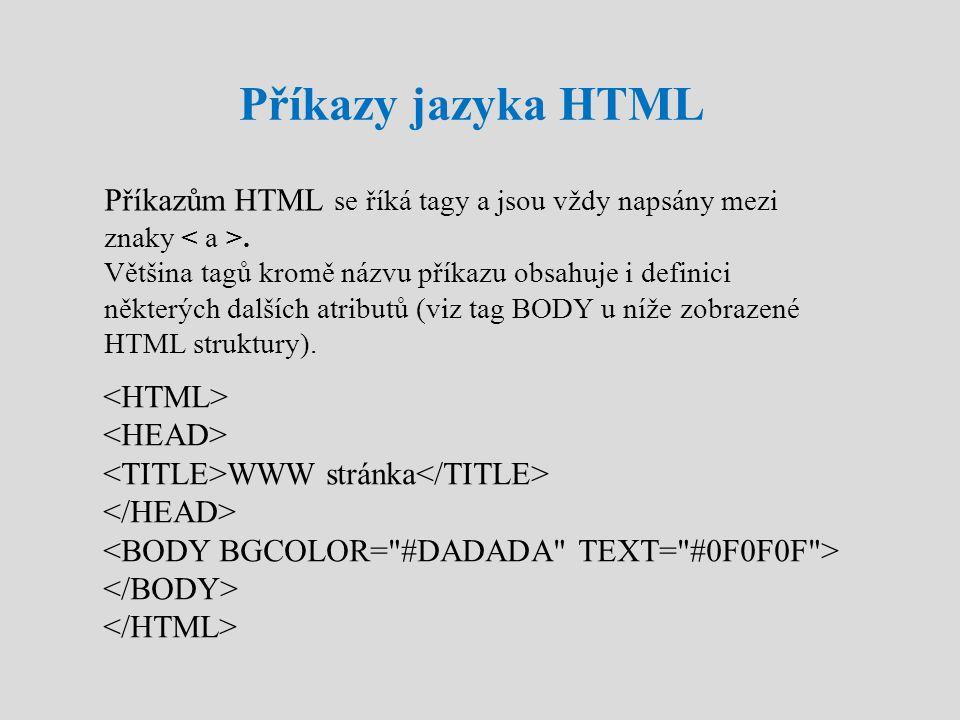 Příkazy jazyka HTML