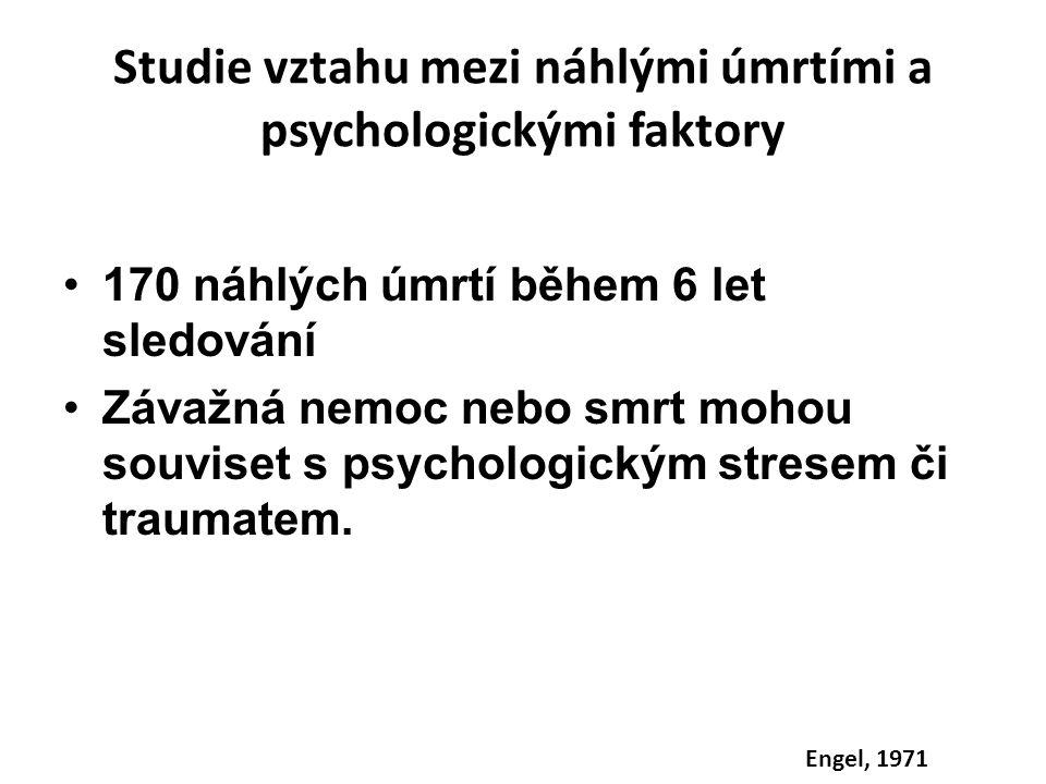 Studie vztahu mezi náhlými úmrtími a psychologickými faktory