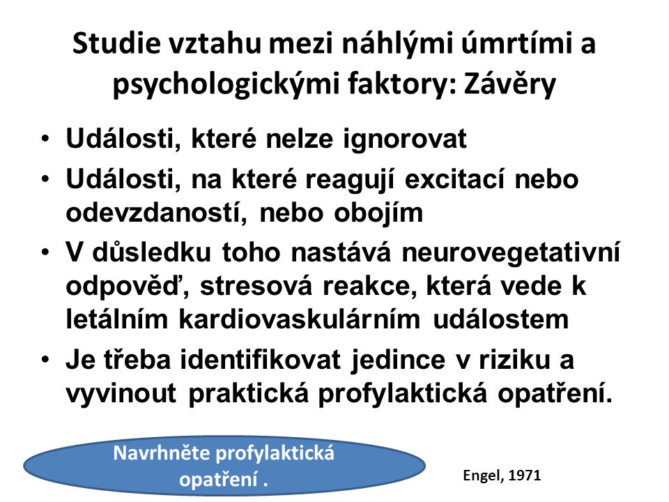 Studie vztahu mezi náhlými úmrtími a psychologickými faktory: Závěry