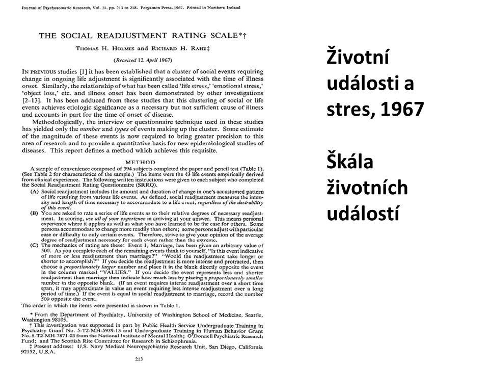 Životní události a stres, 1967