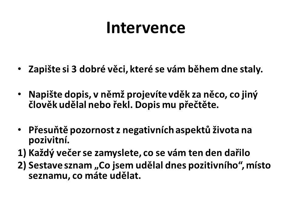 Intervence Zapište si 3 dobré věci, které se vám během dne staly.