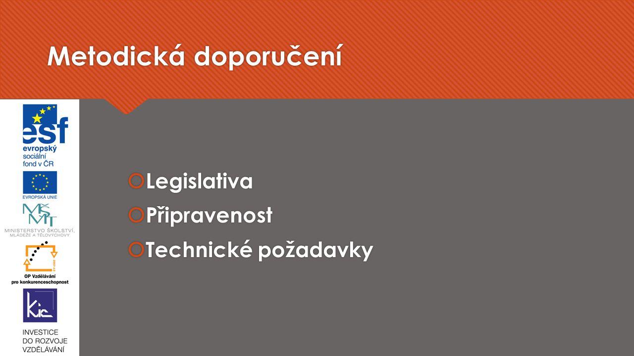 Metodická doporučení Legislativa Připravenost Technické požadavky