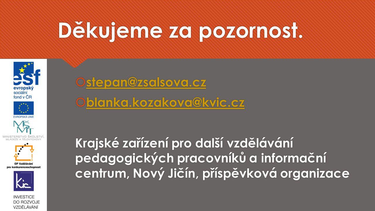 Děkujeme za pozornost. stepan@zsalsova.cz blanka.kozakova@kvic.cz