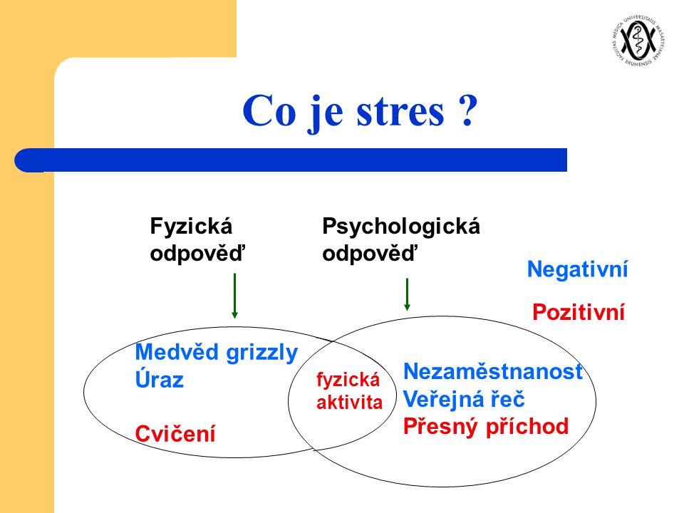 Co je stres Fyzická odpověď Psychologická odpověď Negativní