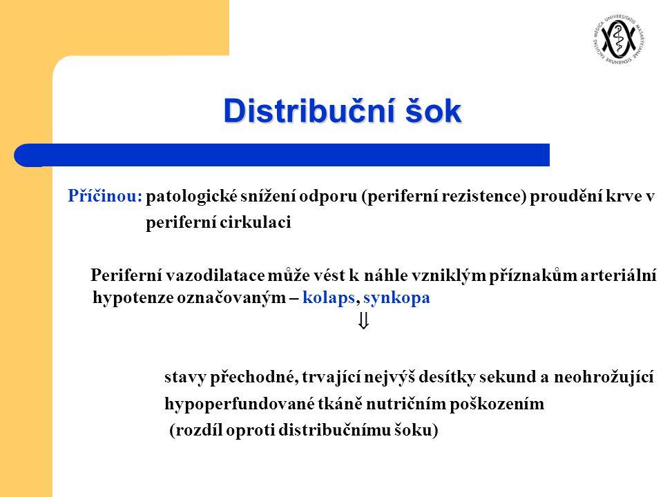 Distribuční šok Příčinou: patologické snížení odporu (periferní rezistence) proudění krve v. periferní cirkulaci.