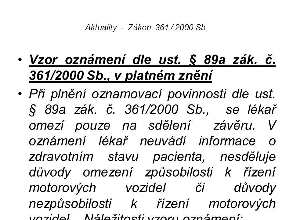 Vzor oznámení dle ust. § 89a zák. č. 361/2000 Sb., v platném znění