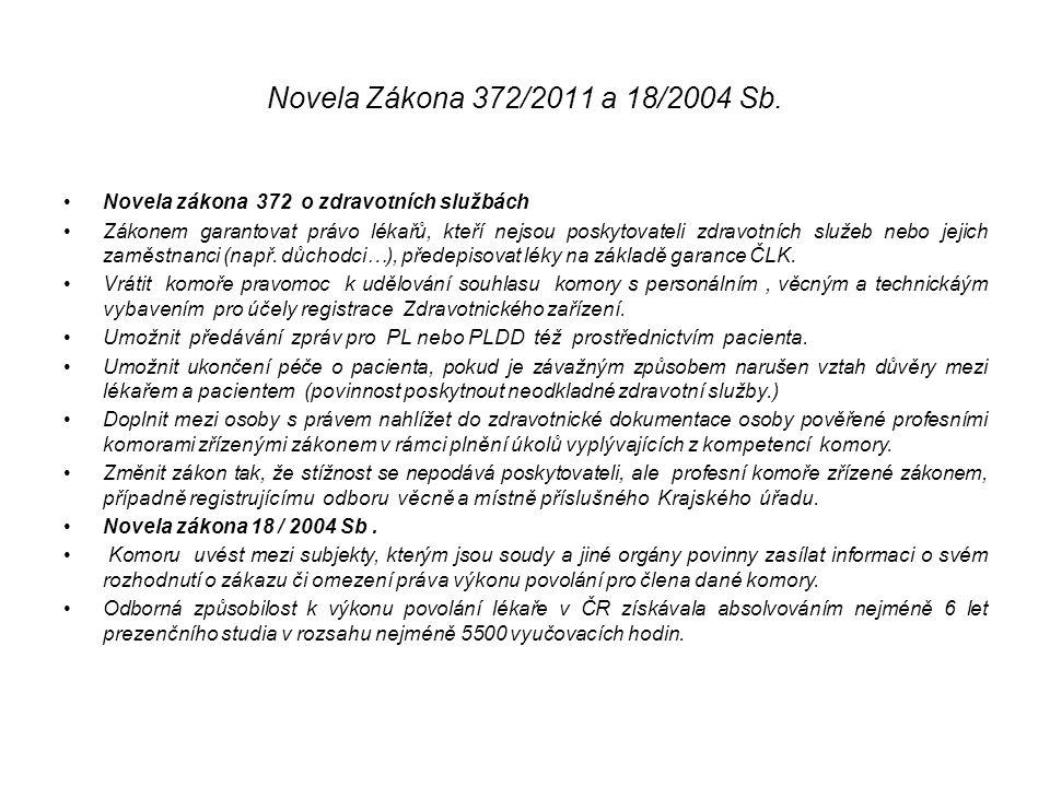 Novela Zákona 372/2011 a 18/2004 Sb. Novela zákona 372 o zdravotních službách.