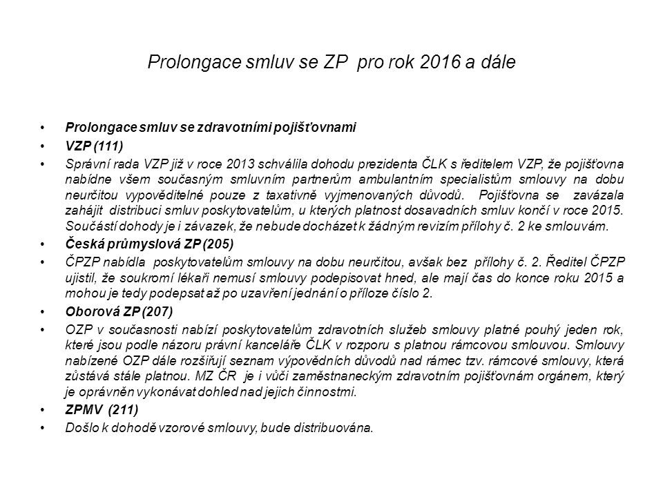 Prolongace smluv se ZP pro rok 2016 a dále