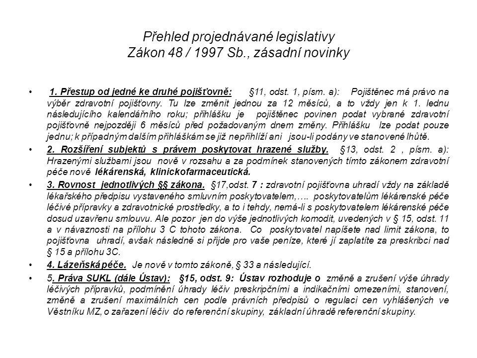 Přehled projednávané legislativy Zákon 48 / 1997 Sb., zásadní novinky
