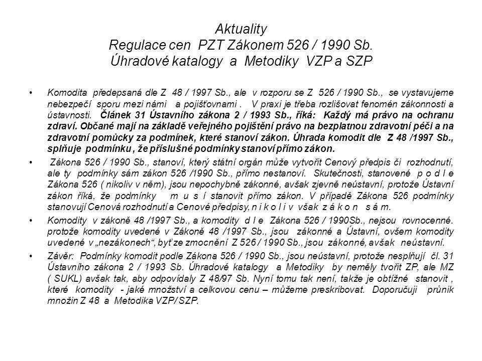 Aktuality Regulace cen PZT Zákonem 526 / 1990 Sb