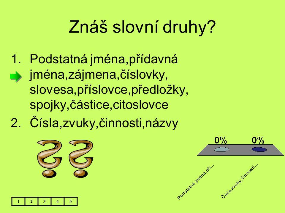 Znáš slovní druhy Podstatná jména,přídavná jména,zájmena,číslovky, slovesa,příslovce,předložky, spojky,částice,citoslovce.