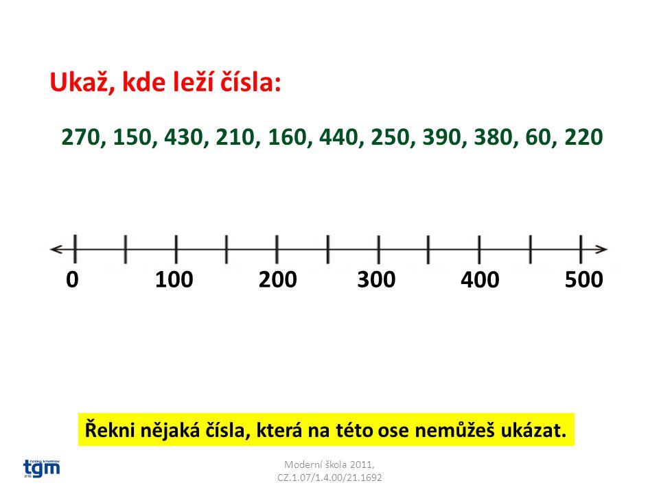 Ukaž, kde leží čísla: 270, 150, 430, 210, 160, 440, 250, 390, 380, 60, 220. 100. 200. 300. 400.
