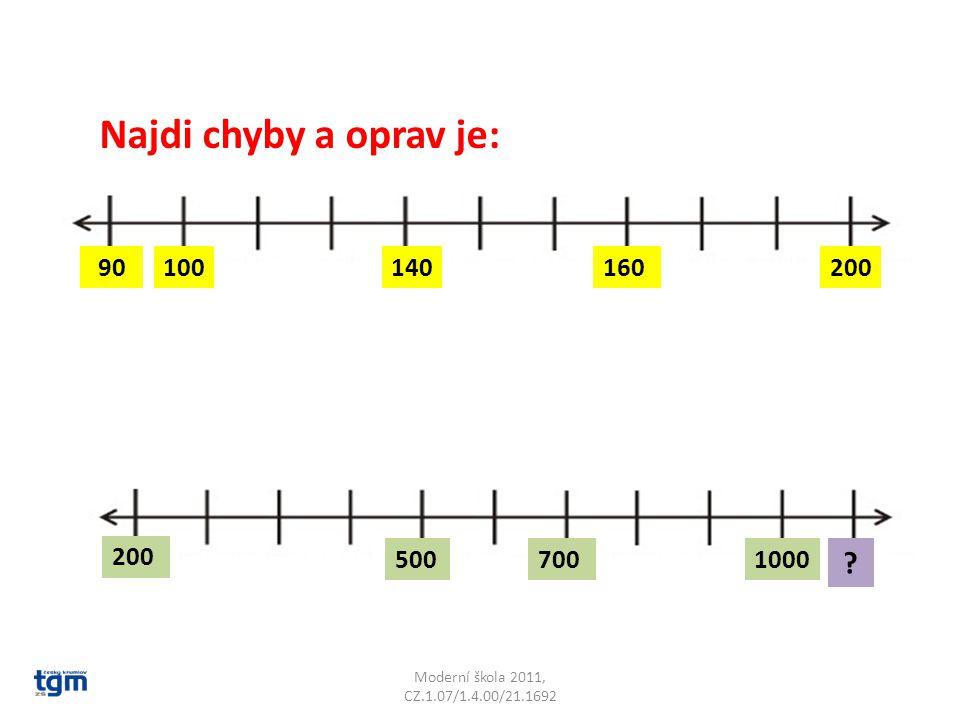 Najdi chyby a oprav je: 90. 100. 140. 160. 200.