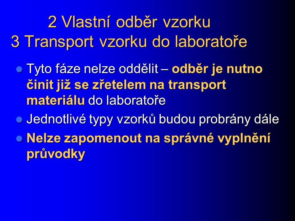 2 Vlastní odběr vzorku 3 Transport vzorku do laboratoře