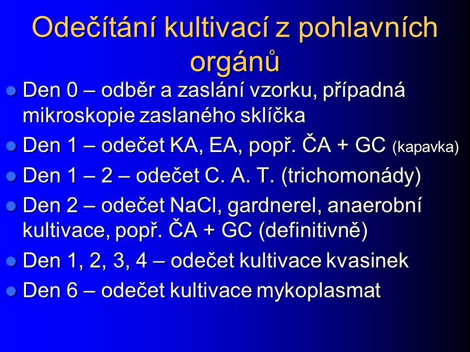 Odečítání kultivací z pohlavních orgánů