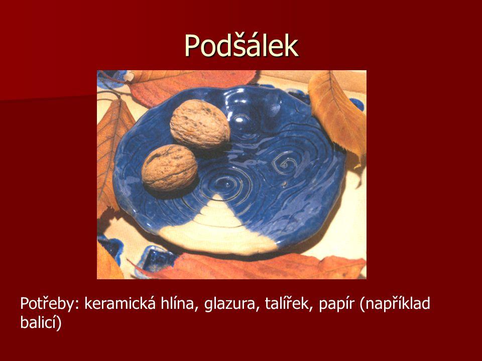 Podšálek Potřeby: keramická hlína, glazura, talířek, papír (například balicí)