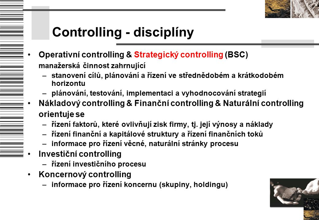 Controlling - disciplíny