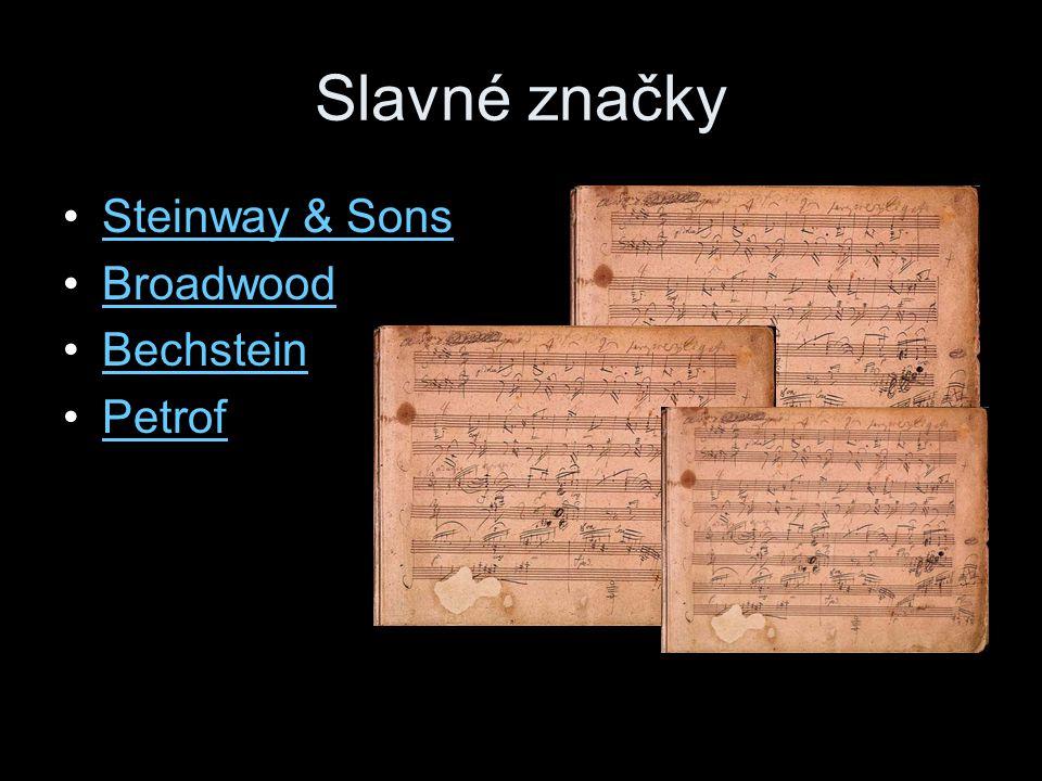 Slavné značky Steinway & Sons Broadwood Bechstein Petrof