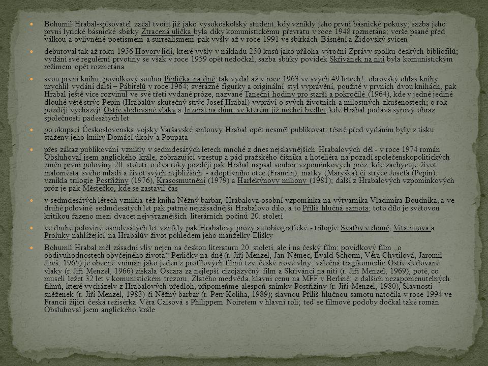 Bohumil Hrabal-spisovatel začal tvořit již jako vysokoškolský student, kdy vznikly jeho první básnické pokusy; sazba jeho první lyrické básnické sbírky Ztracená ulička byla díky komunistickému převratu v roce 1948 rozmetána; verše psané před válkou a ovlivněné poetismem a surrealismem pak vyšly až v roce 1991 ve sbírkách Básnění a Židovský svícen