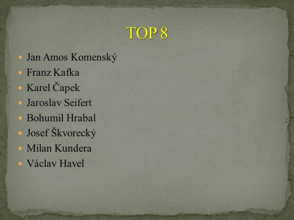 TOP 8 Jan Amos Komenský Franz Kafka Karel Čapek Jaroslav Seifert