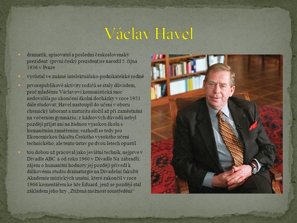 Václav Havel dramatik, spisovatel a poslední československý prezident (první český prezident)se narodil 5. října 1936 v Praze.