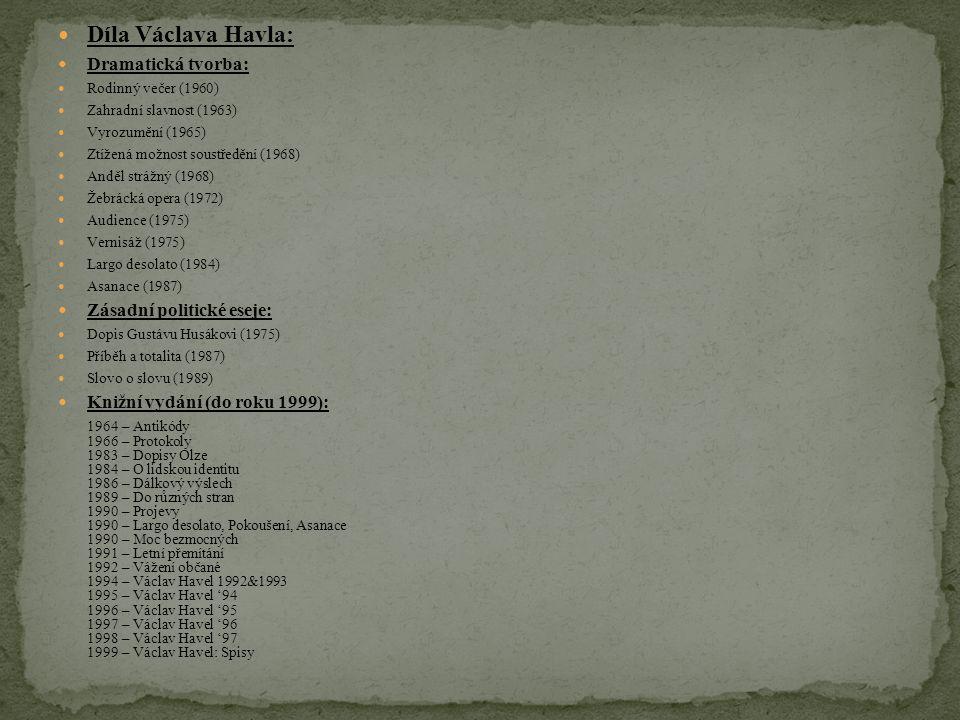 Díla Václava Havla: Dramatická tvorba: Zásadní politické eseje: