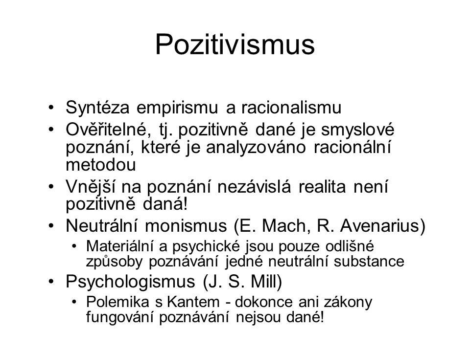 Pozitivismus Syntéza empirismu a racionalismu