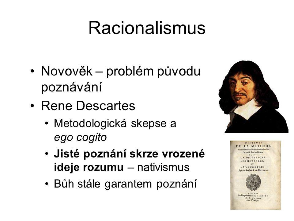 Racionalismus Novověk – problém původu poznávání Rene Descartes
