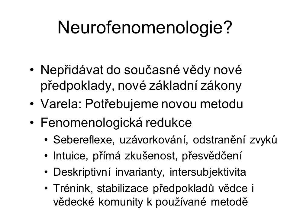 Neurofenomenologie Nepřidávat do současné vědy nové předpoklady, nové základní zákony. Varela: Potřebujeme novou metodu.