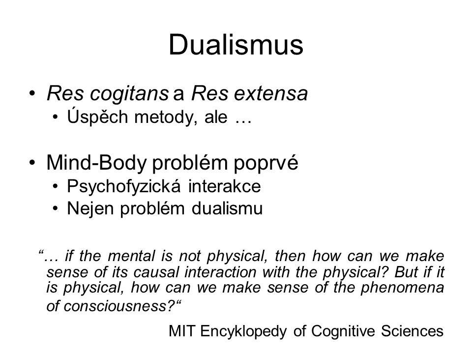 Dualismus Res cogitans a Res extensa Mind-Body problém poprvé