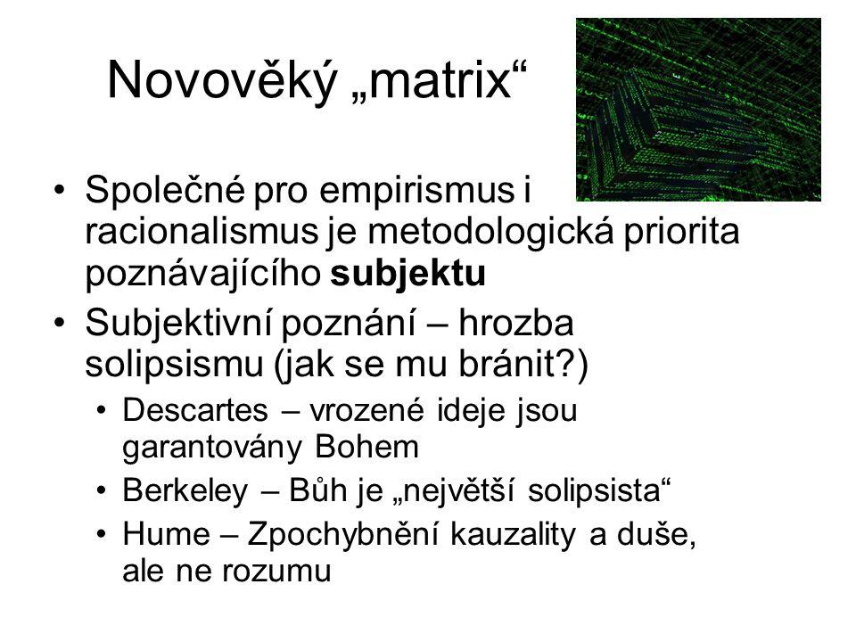 """Novověký """"matrix Společné pro empirismus i racionalismus je metodologická priorita poznávajícího subjektu."""