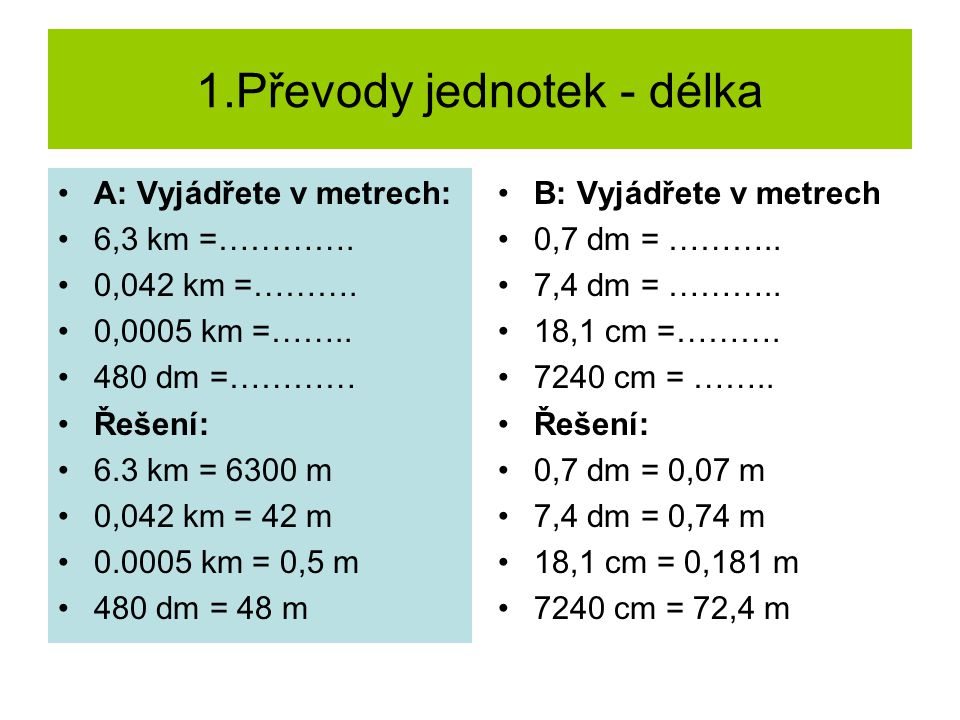 1.Převody jednotek - délka