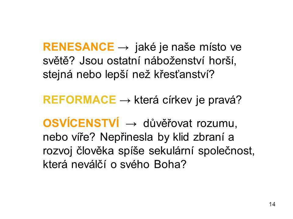 RENESANCE → jaké je naše místo ve světě