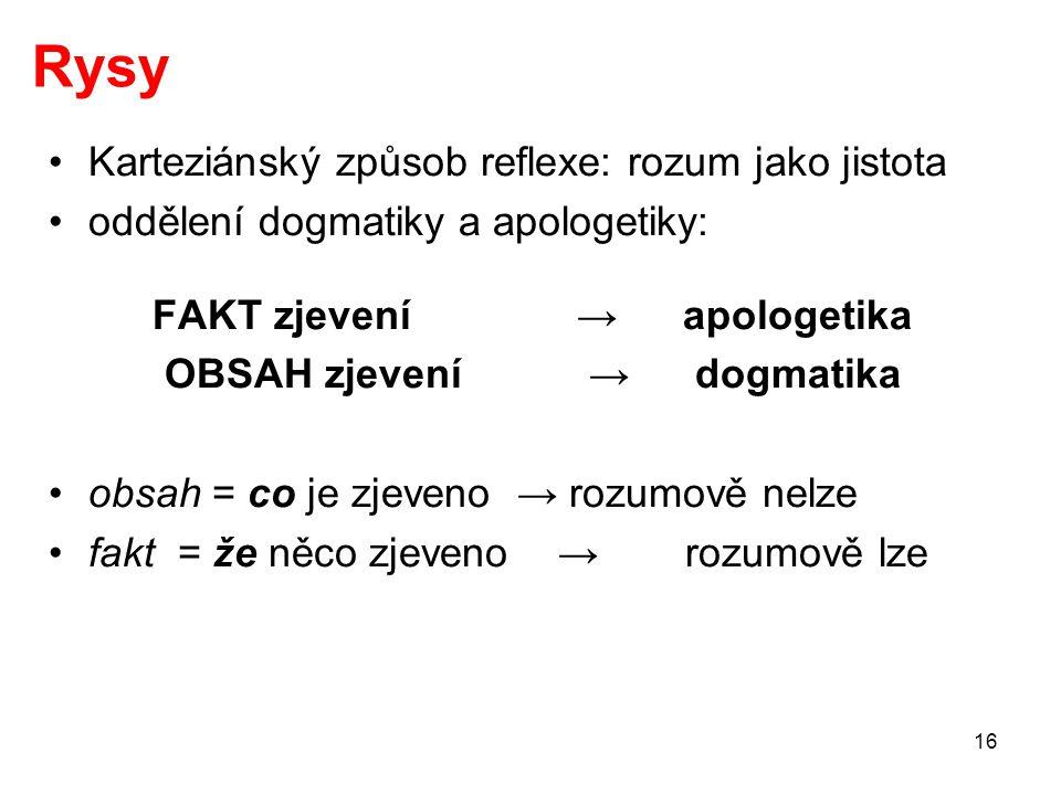 FAKT zjevení → apologetika