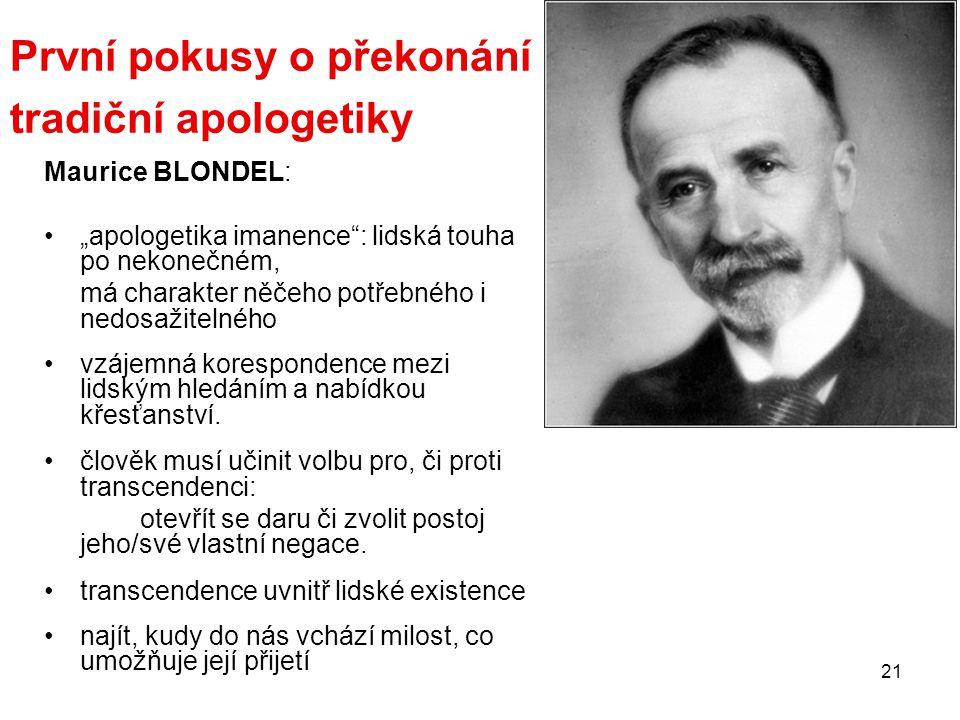 První pokusy o překonání tradiční apologetiky