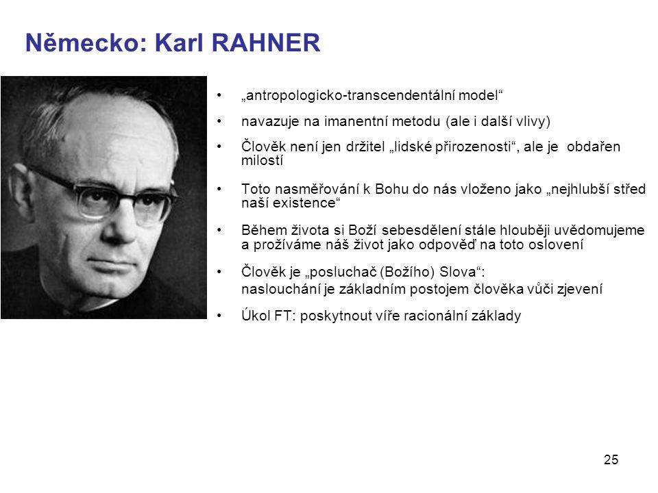 """Německo: Karl RAHNER """"antropologicko-transcendentální model"""