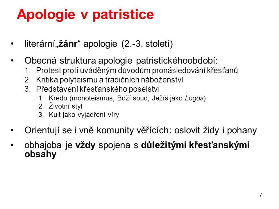 """Apologie v patristice literární""""žánr apologie (2.-3. století)"""
