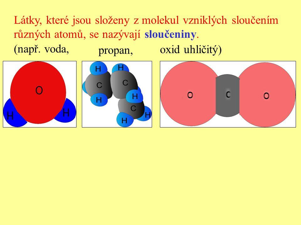 Látky, které jsou složeny z molekul vzniklých sloučením