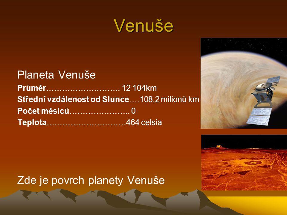 Venuše Planeta Venuše Zde je povrch planety Venuše